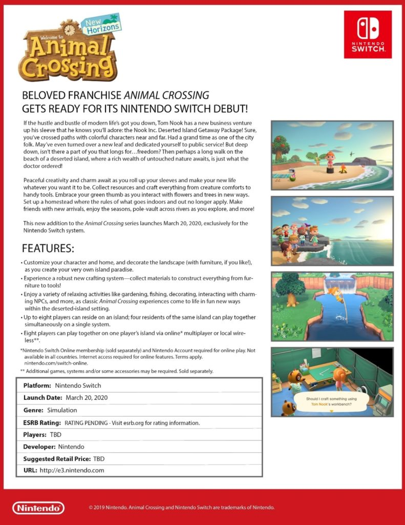 Animal Crossing New Horizons - Fact Sheet