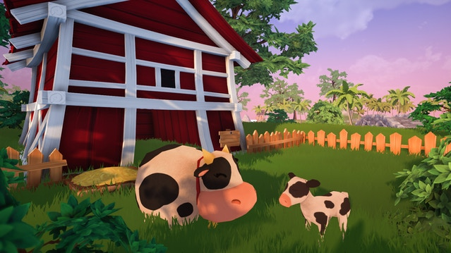 Garden Paws barn on farm with two cows