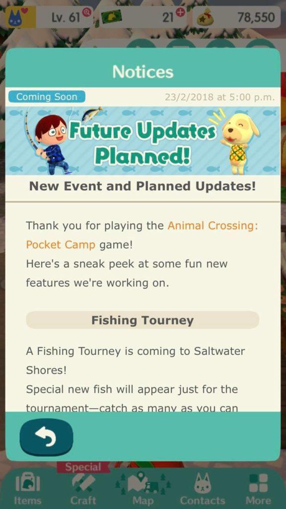 Pocket Camp Fishing Tournament