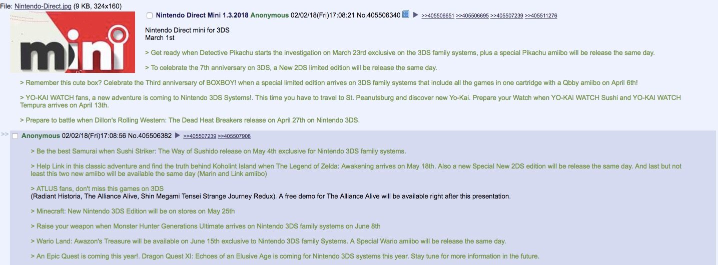 4chan Leak Hints at Potential March 1st Nintendo Direct Mini For 3DS
