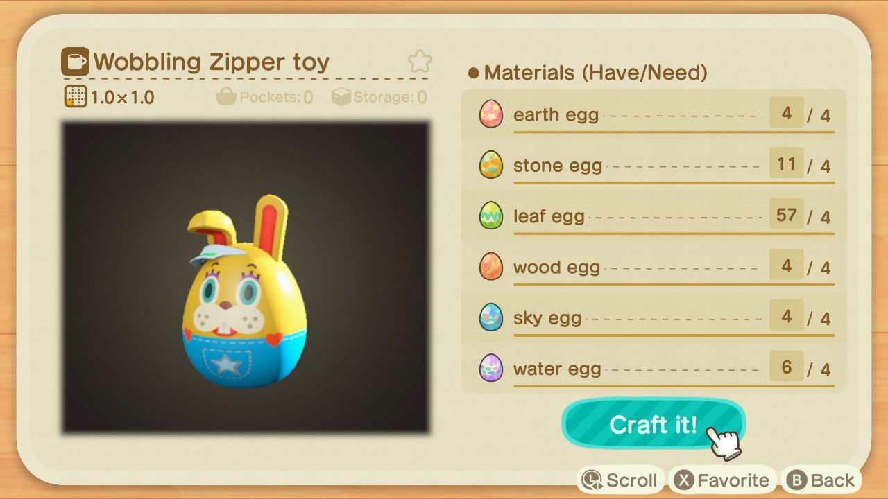 Wobbling Zipper Toy 1 - Animal Crossing: New Horizons - Progetti caccia all'uovo