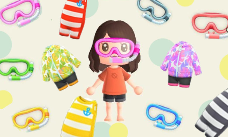 animal crossing new horizons wet suits and goggles