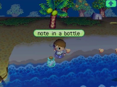 animal crossing wild world notes bottles